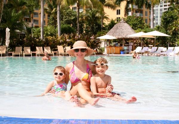 Enjoying the zero entry pool at the Ritz Carlton Key Biscayne