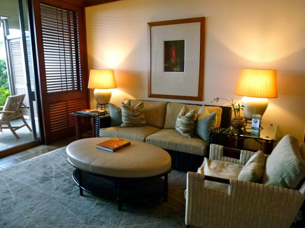 Suite living room area at Four Seasons Hualalai