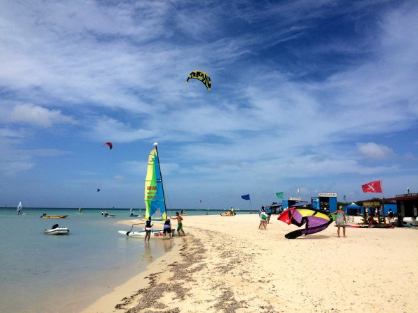 Wind-surfing and kite-surfing on Palm Beach in Aruba