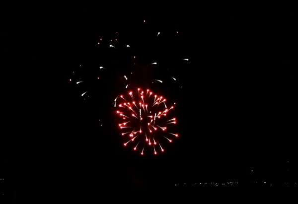 Watching the fireworks from our Park View Suite at the Four Seasons Orlando