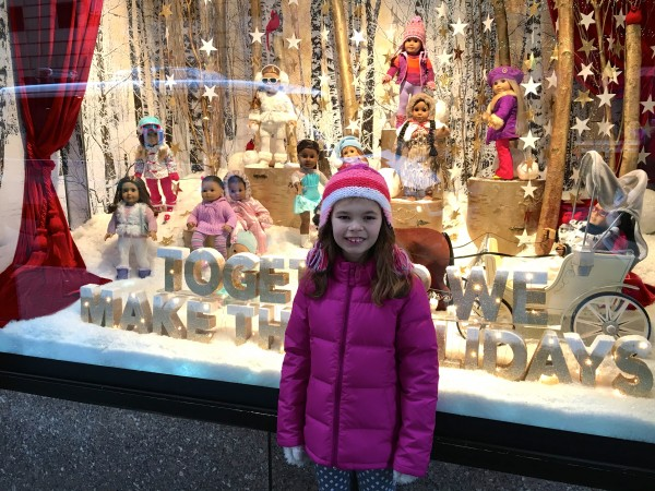 Excited to be at the American Girl Doll store