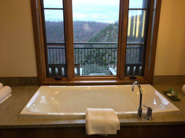 Bathroom of a Cedar Bluff room, Primland Resort