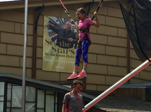Bungee trampoline jumping in Jackson Hole
