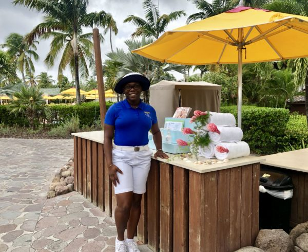 Pool attendant at the Four Seasons Nevis