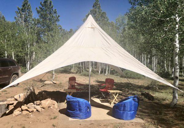 Lounging area at luxury campsite