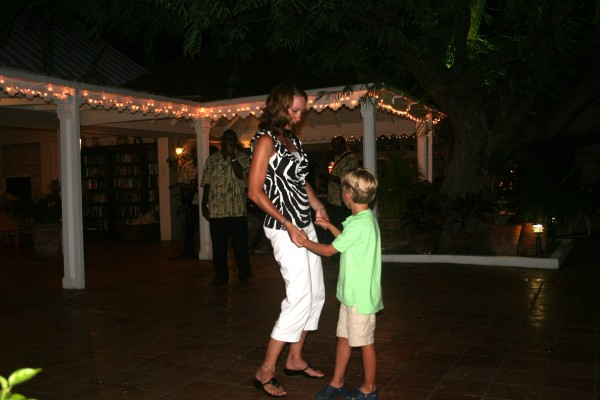Dancing with my son at Curtain Bluff