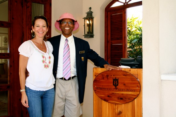 With Levon, one of the head doormen at Tucker's Point