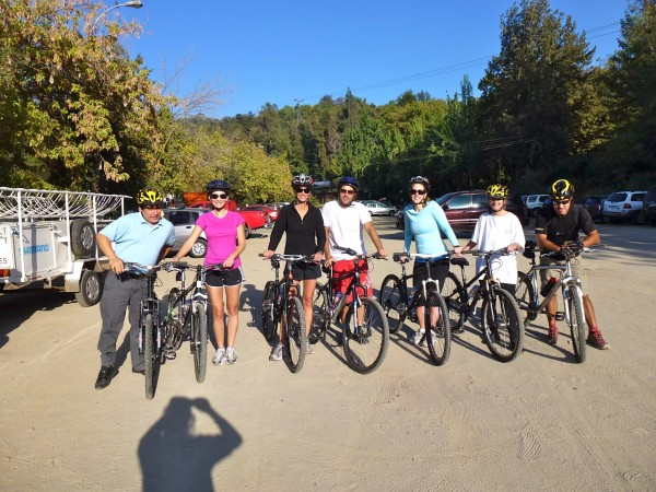 Bike ride in Santiago. I'm wearing the pink shirt!