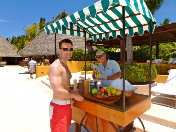 Complimentary, gourmet snow cones are served poolside