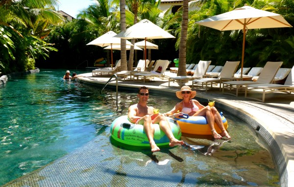 Enjoying the lazy river at Four Seasons Punta Mita