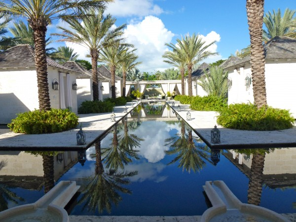 Reflection pool at Regent Palms spa