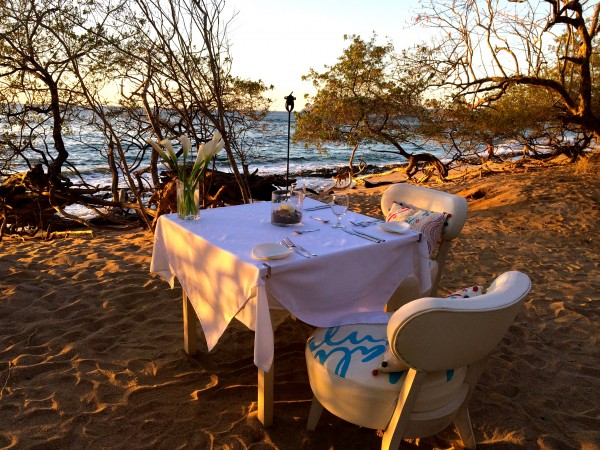 Table for two at Cala Luna's beach