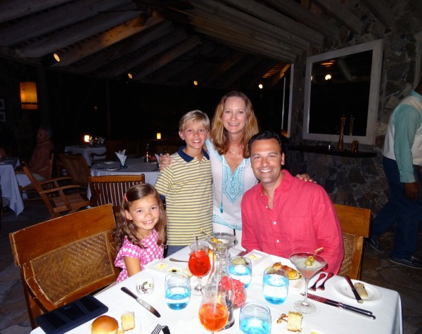 Enjoying dinner with my family at Little Dix Bay