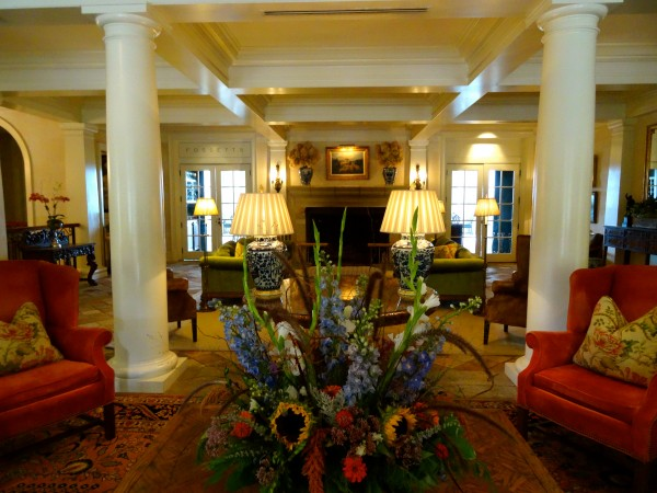 The lobby at Keswick Hall