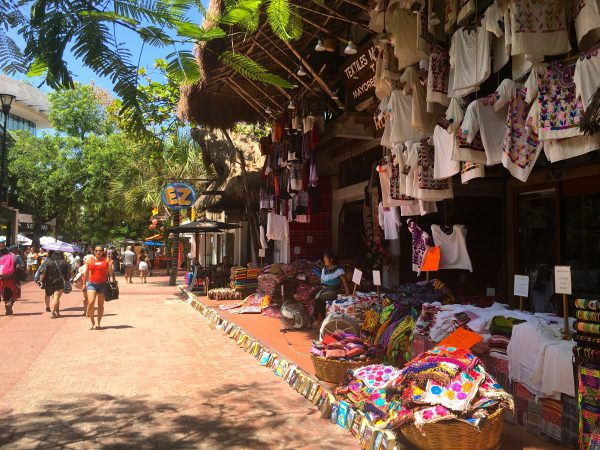 A lively street in Playa del Carmen