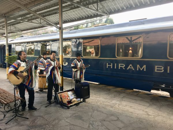 Belmond Hiram Bingham guests get to enjoy live entertainment before boarding