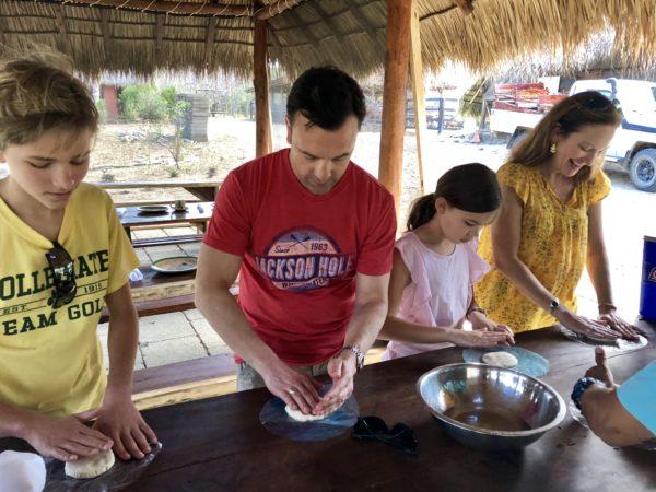 Tortilla making on the farm at Morgan's Rock