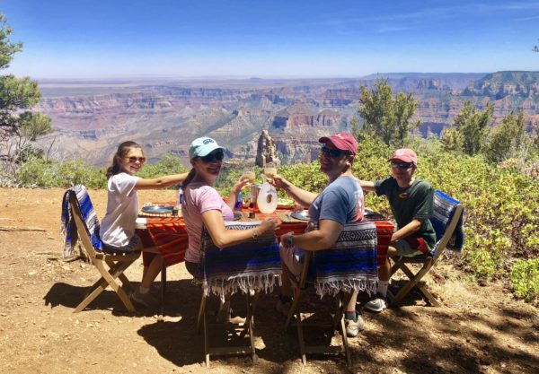 Lunch is served on the rim of the Grand Canyon