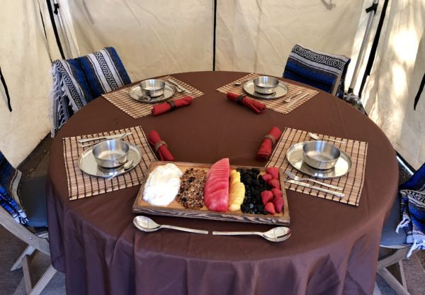 Dining tent, luxury camping
