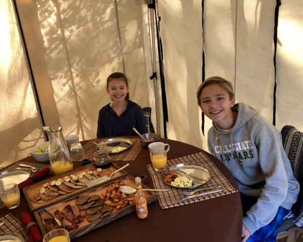 Breakfast, luxury camping site